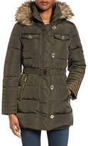 MICHAEL Michael Kors Women's Faux Fur Trim Belted Down & Feather Fill Coat