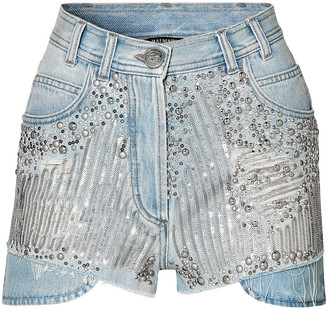 Balmain Embellished Distressed Denim Shorts