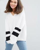 Monki Varsity Stripe Sleeve Sweater