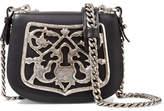 Prada Embellished Leather Shoulder Bag - Black
