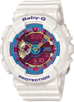 Baby-G Women's Analog-Digital White Resin Strap Watch 46x43mm BA112-7A