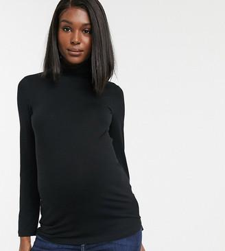 Asos DESIGN Maternity turtleneck long sleeve top in black