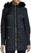 Via Spiga Quilted Hooded Anorak Coat, Ink