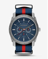 Express Rivington Stripe Multi-function Watch - Navy And Red