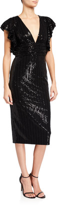 Badgley Mischka Sequin V-Neck Flutter-Sleeve Cocktail Dress