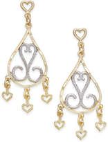 Macy's Two-Tone Filigree Chandelier Earrings in 10k Gold and Rhodium Plated