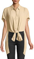 Astr Paulina Tie-Front High-Low Blouse