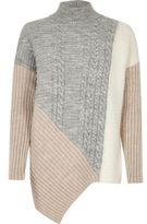 River Island Womens Pink cable knit panel turtleneck sweater