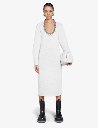 Bottega Veneta Chain-embellished cotton-blend midi dress