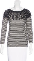 Maje Long Sleeve Fringe-Trimmed Top w/ Tags