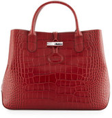 Longchamp Roseau Croco Small Tote Bag, Mahogany