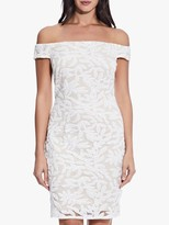Adrianna Papell Sequin Off-The-Shoulder Dress, Ivory/Pale Shell