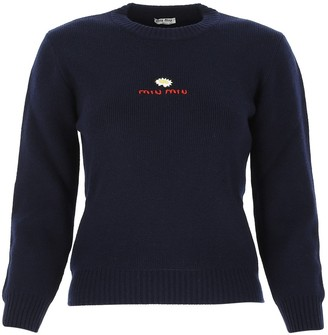 Miu Miu Logo Embroidered Sweater