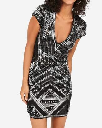 Express Geometric Sequin Deep V Mini Bodycon Dress