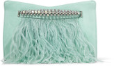 Jimmy Choo VENUS Mint Suede Clutch Bag with Crystals and Ostrich Feathers