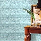 Brick Stone Wallpaper,Han Shi PE Foam 3D DIY Wall Stickers Wall Decor Embossed Art Murals (L, Light Blue)