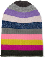 Allude Striped Cashmere Beanie - Pink