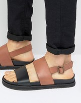 Asos Sandals In Black And Tan Leather With Wedge Sole