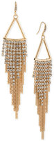 ABS by Allen Schwartz Gold-Tone Long Shimmery Fringe Chandelier Earrings