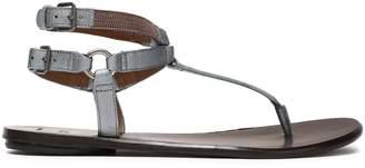 Brunello Cucinelli Bead-embellished Metallic Leather Sandals