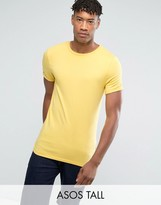 Asos TALL Muscle Fit T-Shirt With Roll Sleeve In Yellow