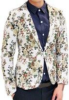 uxcell Allegra K Men Notched Lapel Allover Flower Print One Button Down Blazer M