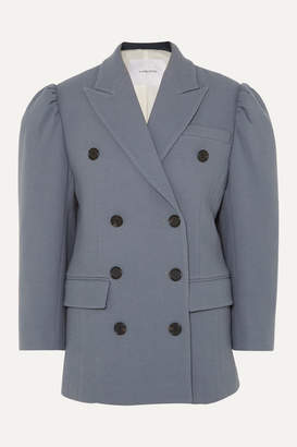Pushbutton - Double-breasted Wool-blend Blazer - Gray