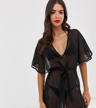 Asos DESIGN Tall recycled tie waist cape back chiffon beach cover up in black