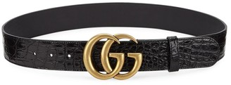 Gucci Marmont Croco Embossed Leather Belt