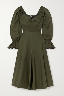Lug Von Siga - Serena Ruffle-trimmed Pleated Cotton-poplin Midi Dress - Army green