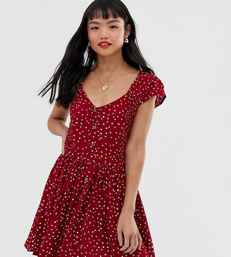 Brave Soul Petite smock dress with mini buttons in heart print-Red