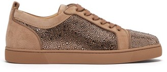 Christian Louboutin Louis Junior Strass Suede Trainers - Mens - Brown