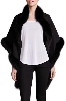Sofia Cashmere Oblong Fox Fur-Trim Cashmere Wrap
