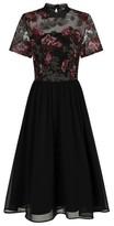 Dorothy Perkins Womens Chi Chi London Black Embroidered Midi Dress, Black