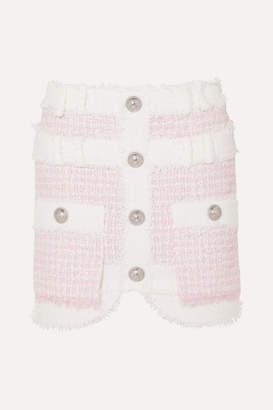 Balmain Embellished Tweed Mini Skirt - Pink