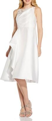 Adrianna Papell Beaded Detail Mikado Sleeveless Cocktail Midi Dress