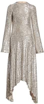 Galvan Modern Love Metallic Sequin Handkerchief A-Line Dress