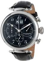 Akribos XXIV Men's AK628BK Retro Chronograph Stainless Steel Black Dial Black Leather Strap Watch