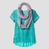 Self Esteem Girls' Short Sleeve Scarf Top - Azul Celeste
