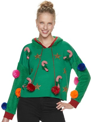 It's Our Time Juniors' Pom Pom Candy Cane Christmas Pullover Hoodie