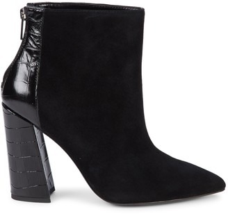 Charles David Croc-Embossed Leather & Suede Point-Toe Booties