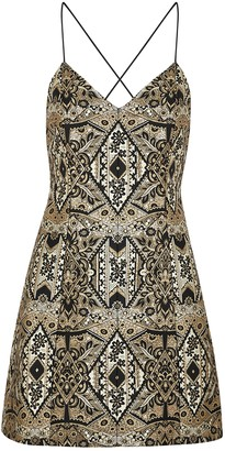 Alice + Olivia Tayla Metallic-weave Jacquard Mini Dress