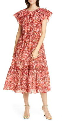 Ulla Johnson Arlene Ruffle Tiered Midi Dress
