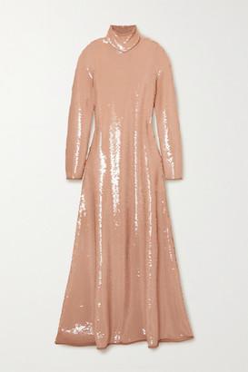 Bottega Veneta Open-back Sequined Jersey Turtleneck Gown - Blush