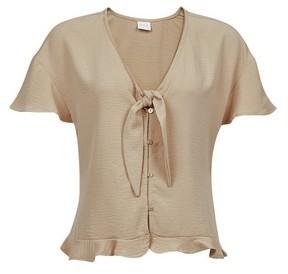 Dorothy Perkins Womens Vila Camel Tie Front Top