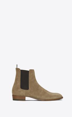 Saint Laurent Wyatt Chelsea Boots In Suede Light Tobacco 10