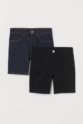 H&M 2-pack Slim Fit Denim Shorts - Black