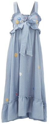 Thierry Colson Valentina Floral-embroidered Cotton Maxi Dress - Womens - Blue Print