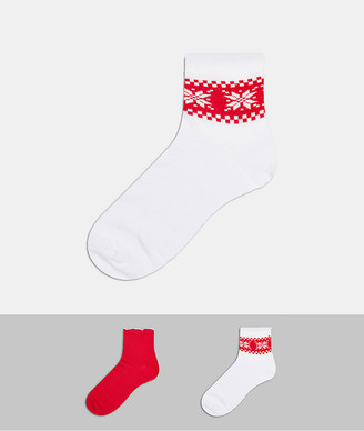 ASOS DESIGN Christmas 2 pack fair isle and frill ankle socks