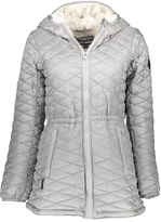 Steve Madden Silver Faux Fur-Lined Hooded Long Puffer Coat
